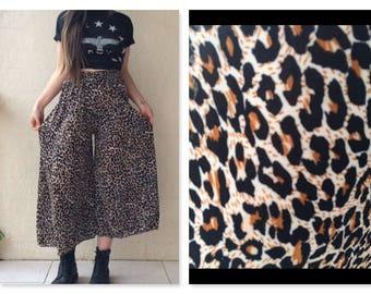 Slinky Boho Grunge Sheer Leopard Print Palazzo Pants