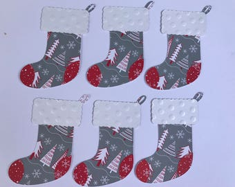 6 Christmas/Stockings Die Cuts White, Red, Gray, Embossed 2 Layers, Embellishments, Scrapbooking, Card Making, Home Party Decor