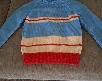 Jumper, Blue, Stripes, Hand Crafted, Hand Made