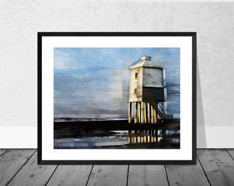 Lighthouse Art Print, Seaside Art Print, Lighthouse, Landscape, Burnham on Sea, Beach Art, Coastal Decor, Blue, Seascape, Home Décor,