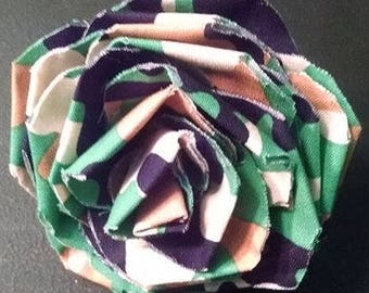Fabric Rose Barrette Multi Camouflage