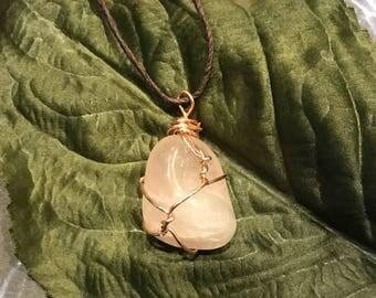 Rose Quartz Wrapped Necklace