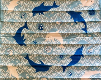 Cozy cat mat, playful dolphins - quilted bed for your kitty - all proceeds to local humane society