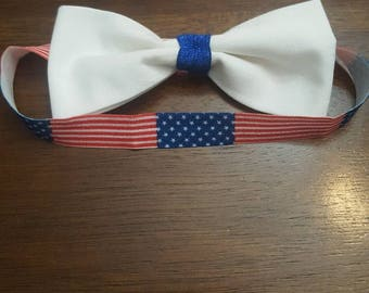 4th of July Infant /Toddler Headband Red White an Blue American flag print