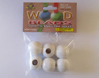 Pepperell Round Wood Beads 25mm 6 Pack White