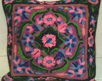 Wool hand embroidered cushions from Kashmir, India