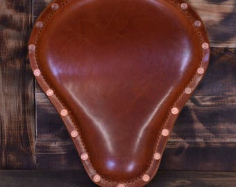 Handmade Bobber Seat Buffalo Cognac Copper with Rivets