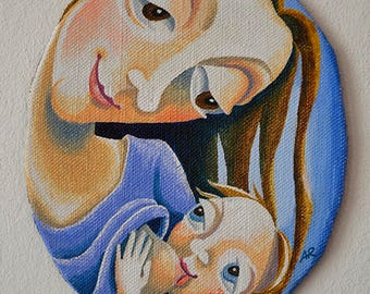 Breastfeeding mother, miniature painting, oval, breastfeeding art, original, breast feeding, motherhood