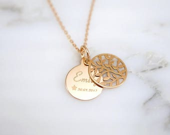 Name chain ~ tree of life ~ 925 Silver ~ Rosé gold