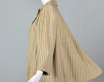 SALE 1940s Loose Wool Jacket 40s Swing Coat  Swing Jacket Loose Wool Coat Stripes Vintage Womens Jacket