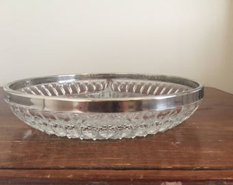 Vintage Hollywood Regency Crystal Divided Dish | E.P. Silver Rim Dish