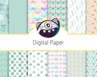 Pretty Pastels Digital Paper Set - patterned paper, scrapbook paper, chevron, polka - personal use, small commercial use, DG46