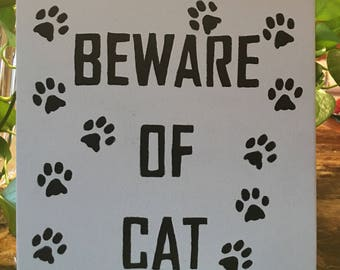 Beware of Cat Decorative Wall Decor
