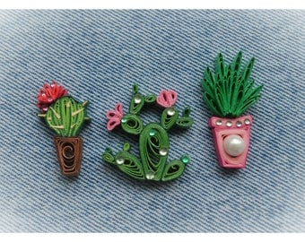 Quilled cactus, quilling art, paper art, cactus brooch, quilled brooch, green quiiling, jewerly pin, jewelry badge, rhinestones