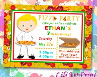 Pizza Party birthday invitation, pizza invite, pizza party birthday party, Digital file(10)