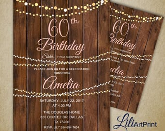 60th  Birthday Invitation, Rustic Women Birthday Invitation, Any Age Birthday Invite, Surprise Invitation, Digital file, 8