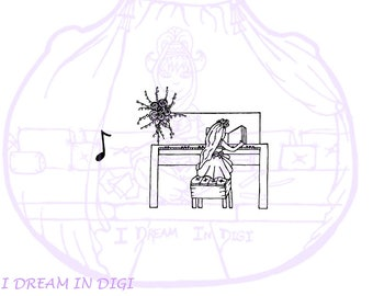 DIGITAL STAMP,coloring page,piano