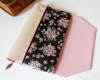 Protects-pocketbook adjustable fabric with bookmark (Japanese cherry/noir_rose patterned fabric)