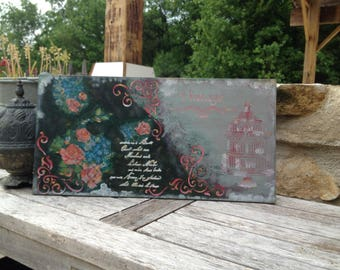 Decoupage on MDF with a romantic theme