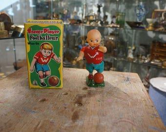 Old mechanical toy JOJA Football Player metal winding - 1950s
