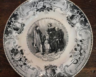 Decorative creil and montereau ironstone plate