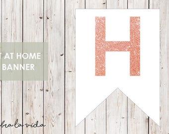 DIY Banner - 'H'. Instant Download. Printable Banner Letters. Pink Glitter. - 01
