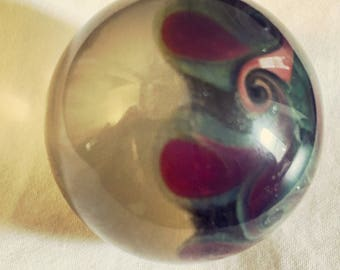 Handmade borosilicate glass art marble with Gilson opal inset by CHZ - fuschia and sage paisley hemisphere