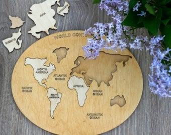 Wooden World Map Etsy - Large wood us map puzzle