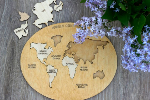 Wooden world map puzzle intellectual kids table game like this item gumiabroncs Choice Image