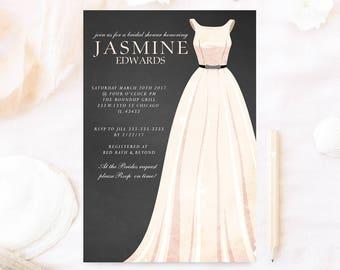 Bridal shower invitation, Wedding dress bridal shower invite, gray and white elegant bridal shower dress, pink dress invitation