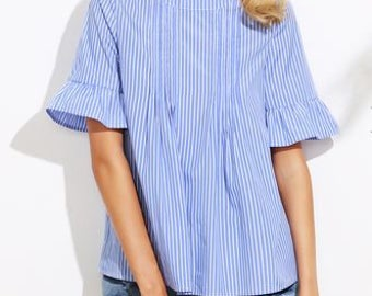 Blue Striped Blouse with Button Back Detail