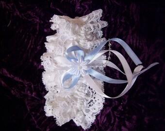 Wedding  Garter,white with blue garter. Various of size.