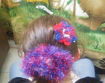 Red,White and Blue Sparkly Scrunchy and Flower Barrette