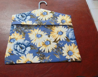 Clothespin Bag -- Country Blue With Yellow Daisies