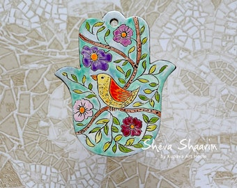 Turquoise Hamsa. Bird Hamsa.  Ceramic Hamsa. Wall hanging Hamsa. Jewish gifts. Judaica. Home Decor. Hamsa Hand. Housewarming Gift.