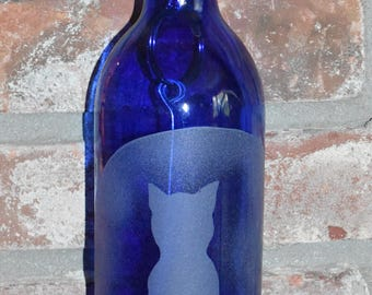 Cat Moon Gazing  ~ Cobalt Blue Hanging Wine Bottle Lantern