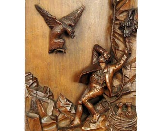 relief wood carving nest robber, black forest ca. 1890