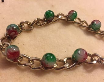 Bronze chain bracelet with glass charms