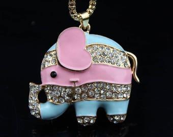 Pink and Blue enamel and rhinestone elephant