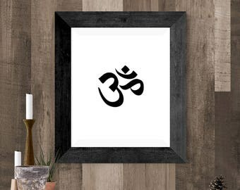 Om Symbol Printable, Mindfulness Artwork, Simple Meditation Poster, Meditation Gift for the Altar, Housewarming Gift, Yoga Gift, 8 x 10 art