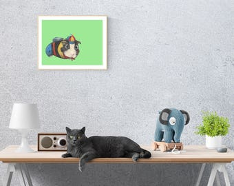 Boris Guinea Pig - Art Print/ Animal Art Print/ Guinea Pig Art / Cute Cartoon/ Guinea Pig/ Cute Animal / Nursery Art / Childrens Art