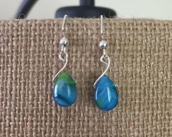 Blue/yellow swirl glass teardrop with silver twist earrings