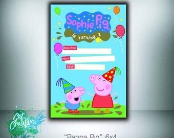Peppa pig birthday invitation - digital file supplied