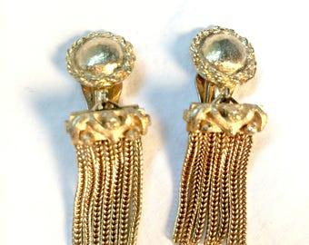 Vintage Gold Fringe Clip On Earrings