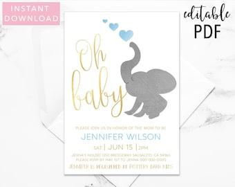 Elephant Baby Shower Invitation, Baby Shower Invitation, Boy Baby Shower, Baby Boy Shower, Printable Invitation, Invitation, Template