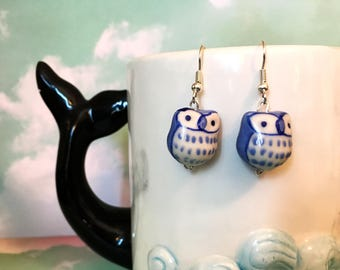 Light blue ceramic owl bead drop dangle silver earrings hypo allergenic