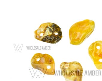 Baltic amber stones medallions with 2 holes. Amber pendants for jewelry making. Natural amber pieces. 5 units. AS110