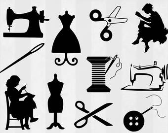 Sewing SVG Bundle, Sewing clipart, Sewing cut files, seamstress svg, svg files for silhouette, files for cricut, svg, dxf, cuttable design