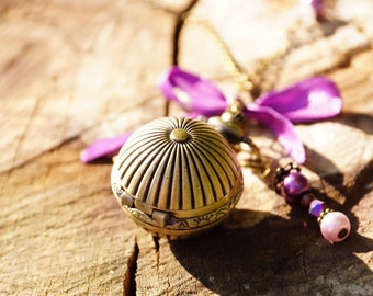 Copper and purple ball Pocket Watch necklace