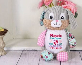 Personalized Baby Cubbies, Custom Embroidered Harlequin Bunny Rabbit Stuffed Animal for Kids